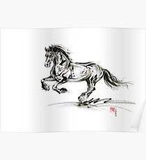Horse stallion black wild animal 2014 year ink painting Poster