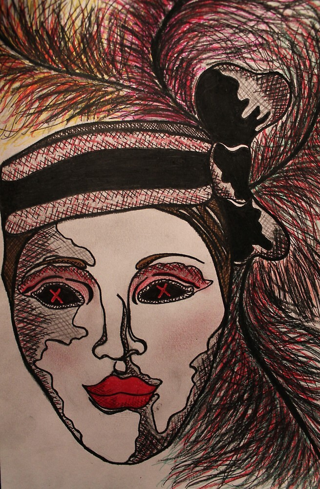 Masquerade Woman Normal Drawing by Amber Batten