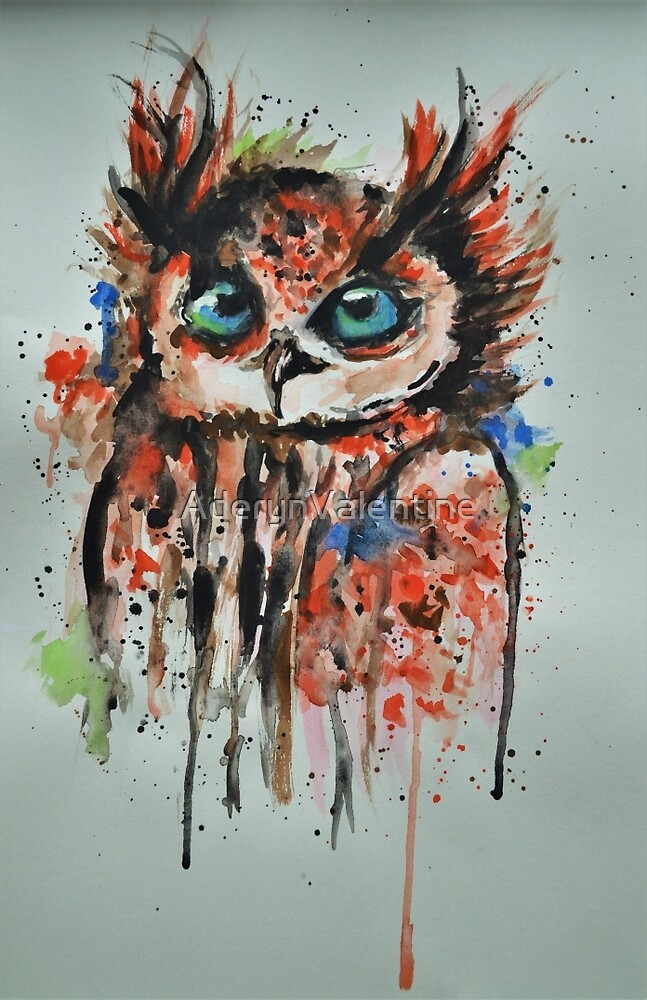 The Dorky Owl - Watercolour art by AderynValentine