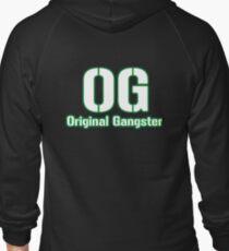 Original Gangster Text Zipped Hoodie