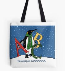 Reading Books is COOL, Penguin with Letters, ABC's, Snow Tote Bag