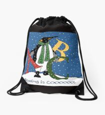 Reading Books is COOL, Penguin with Letters, ABC's, Snow Drawstring Bag