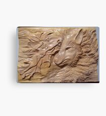 Wood carving work (wolf fairy) Canvas Print