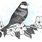 «Bird on cherry blossoms» de artetbe