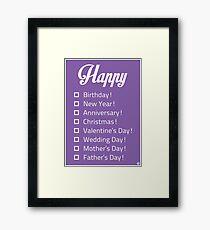 Happy... Check-list Card Framed Print