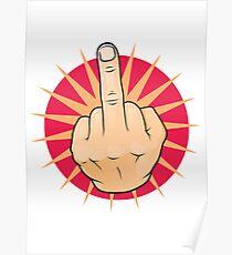 Vintage Pop Art Middle Finger Up Gesture. Poster