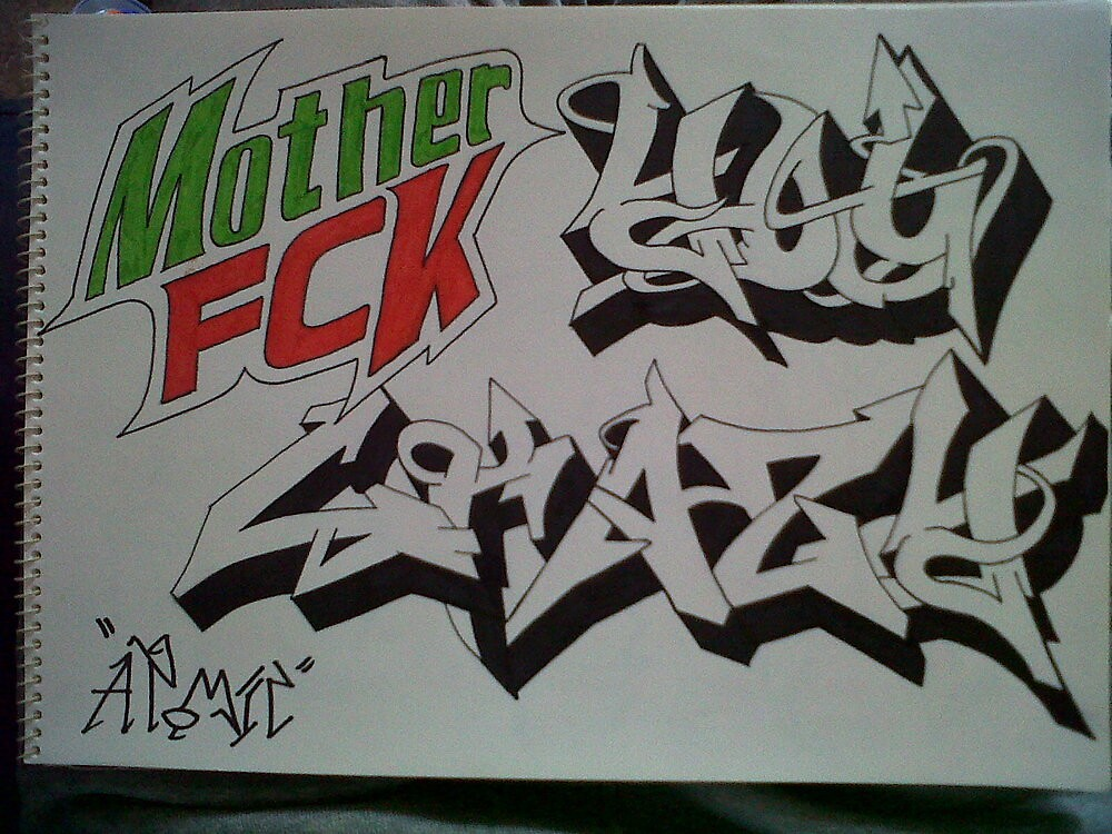 Mother Fucker You Crazy graffiti sketch by CRISIS27