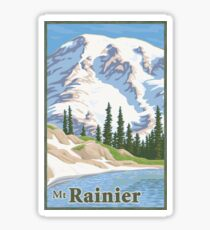 Vintage Mount Rainier Travel Poster Sticker