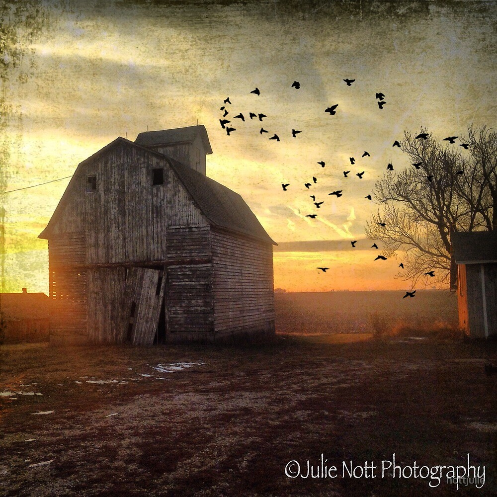 Rustic barn at sunset by nottjulie