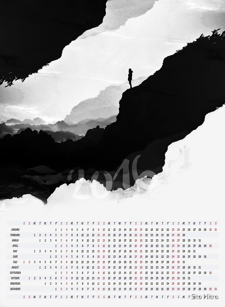 2016 Calendar White Isolation  by Sto Hitro