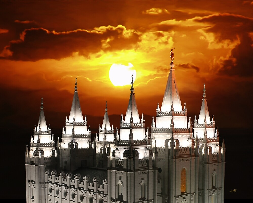 Salt Lake Temple Sunset Spires 20x24 by Ken Fortie