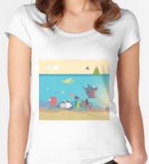What's going on at the sea? Kids collection Women's Fitted Scoop T-Shirt