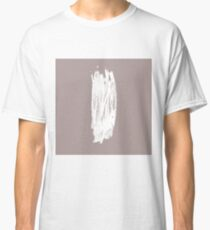 Simple Minimalistic White Brushtrokes on Beige Classic T-Shirt