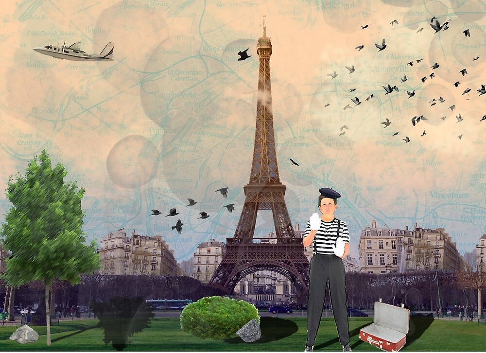 Paris Mime Postcard by LBHewitt