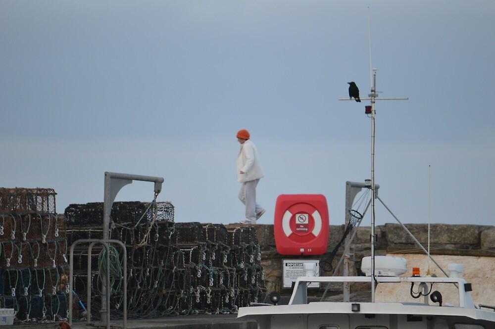 Walking Along St Andrews Pier Wall by Adrian Wale