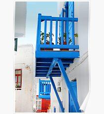A Blue Balcony, Mykonos Poster