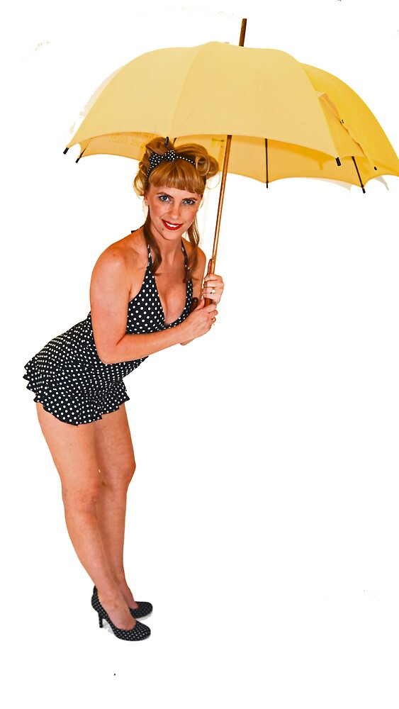 Pin up girl waiting for rain by jvoweaver