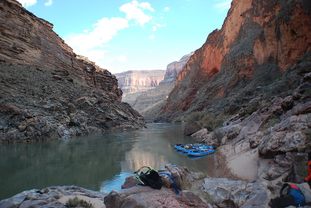 Rafts tied up in the Grand Canyon by dinahmite