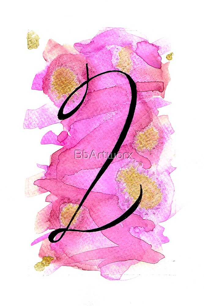 Number 2 Table Number - black on pinks with gold by BbArtworx