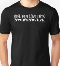 Real Men Love Cats - White Text Unisex T-Shirt