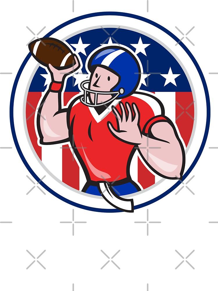 Football Quarterback Throwing Circle Cartoon by patrimonio