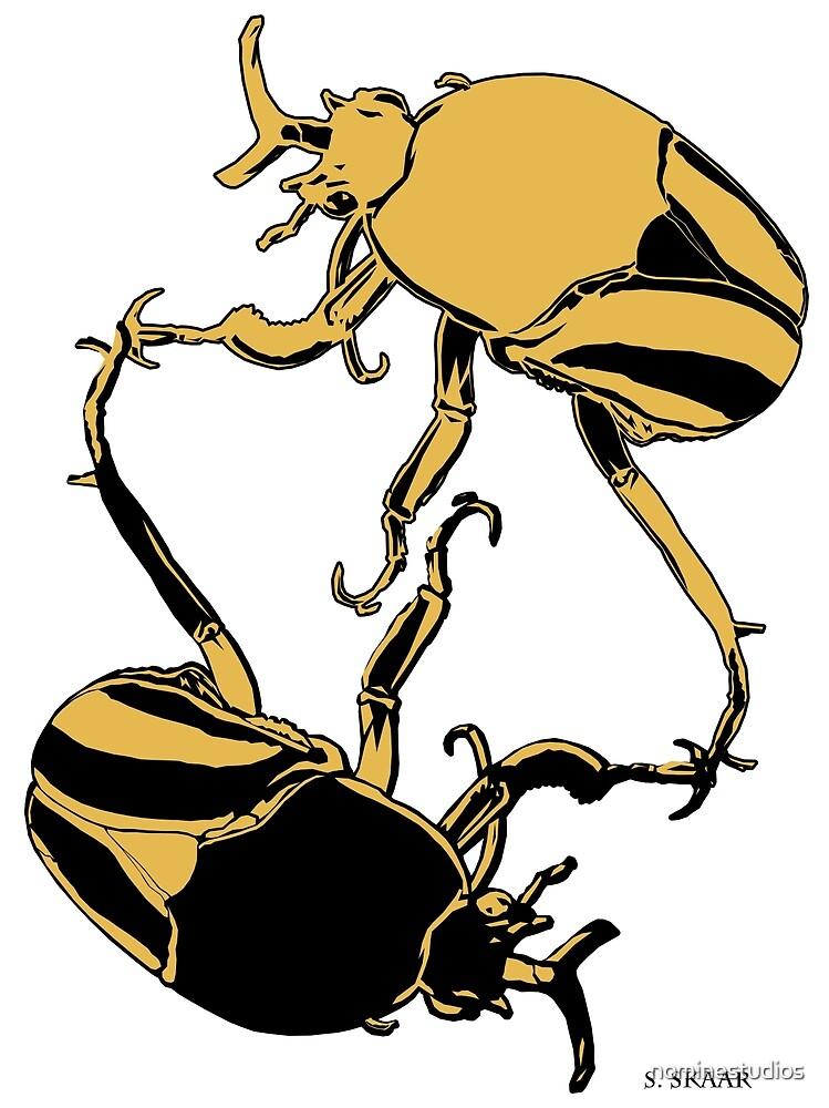 Yin Yang Beetles - Yellow and Black by nominestudios