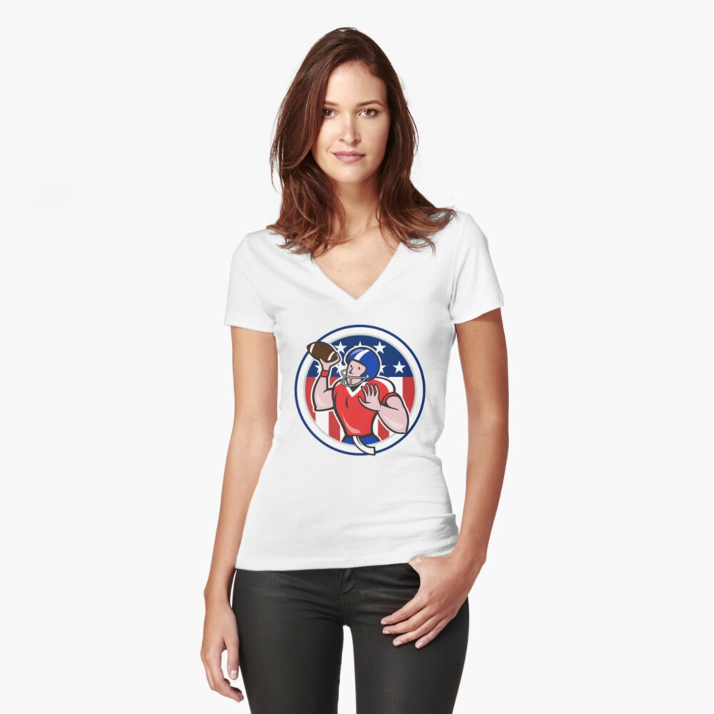 Football Quarterback Throwing Circle Cartoon Women's Fitted V-Neck T-Shirt Front