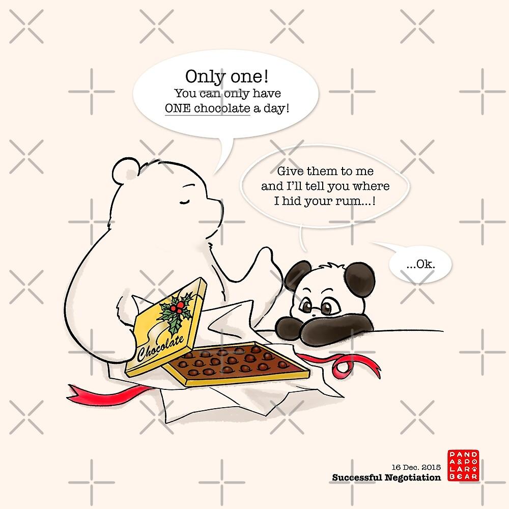 Successful Negotiation by Panda And Polar Bear
