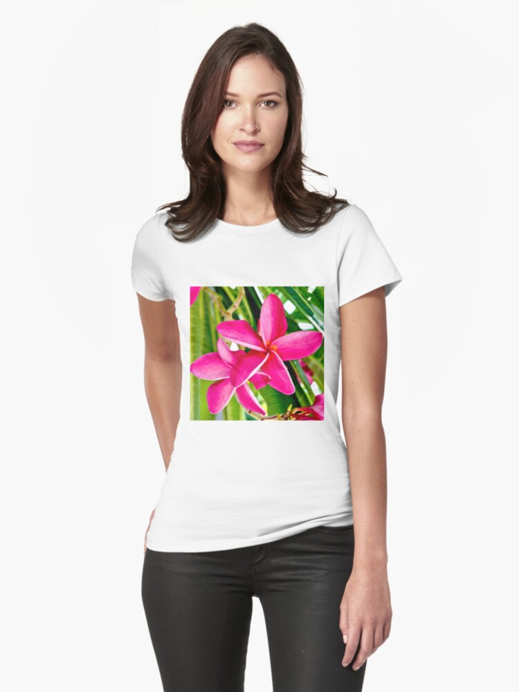 Tropical Pink Plumeria Flower Blooms Womens T-Shirt Front