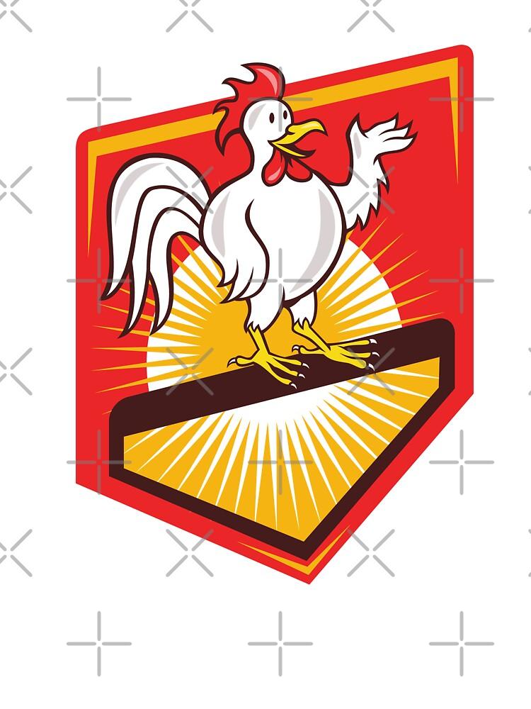 Rooster Cockerel Waving Hello Shield Cartoon by patrimonio