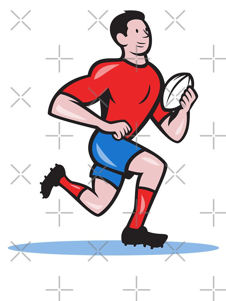 Rugby Player Running Ball Cartoon by patrimonio
