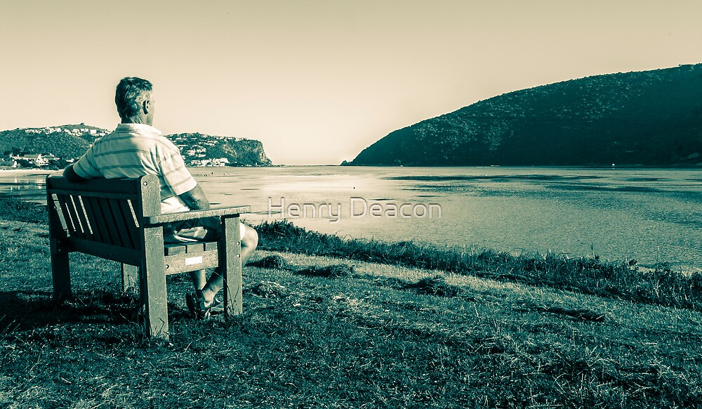 Elderly man relishing a view of the Knysna Heads by Henry Deacon