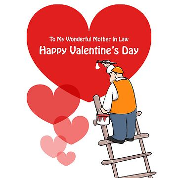 Valentine's Day Mother In Law Cards, Red Hearts, Painter Cartoon by shirguppi