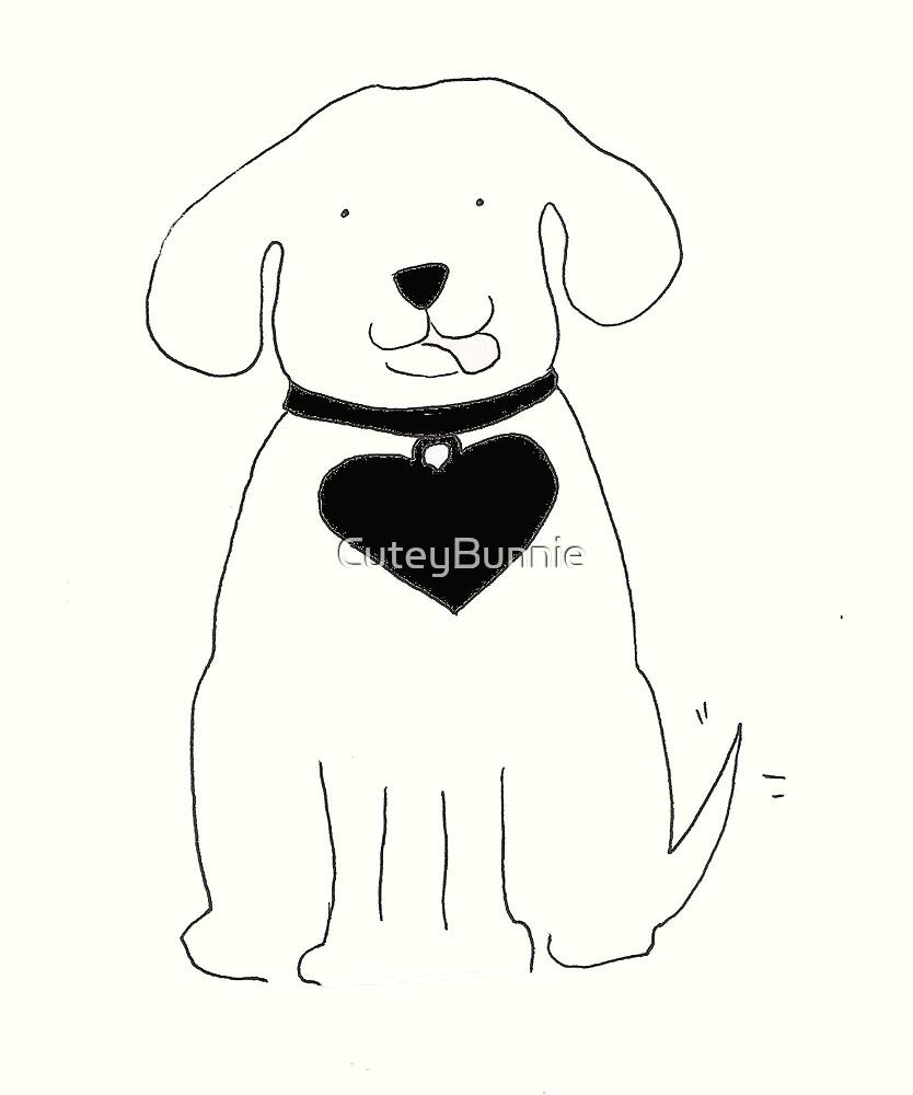 Dog Ben Black and White by CuteyBunnie