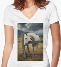 Horse Fence Sky.jpg Women's Fitted V-Neck T-Shirt