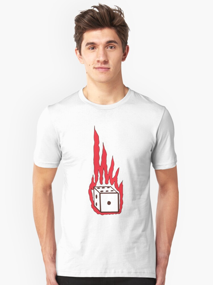 Flaming Dice Unisex T-Shirt Front