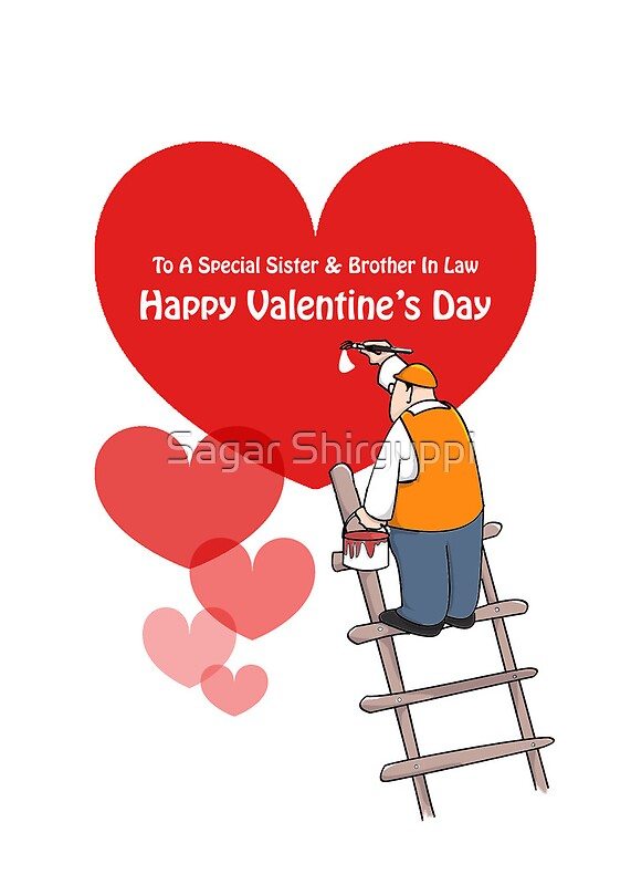 Valentineu0027s Day Sister U0026 Brother In Law Cards, Red Hearts By Sagar Shirguppi