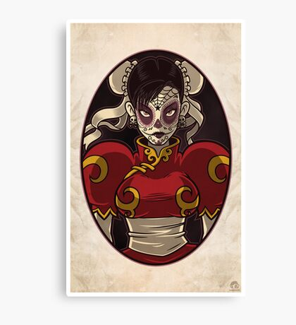 Chun Li Skull Girl Canvas Print