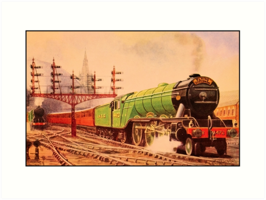 The flying Scotsman, vintage train watercolour by aapshop