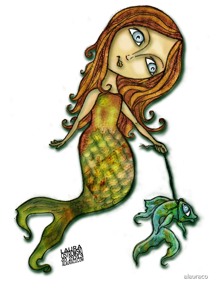 Whimsical Mermaid Walking Fish by alauraco