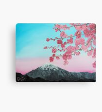 Cherry Blossoms between you and the mountains Canvas Print