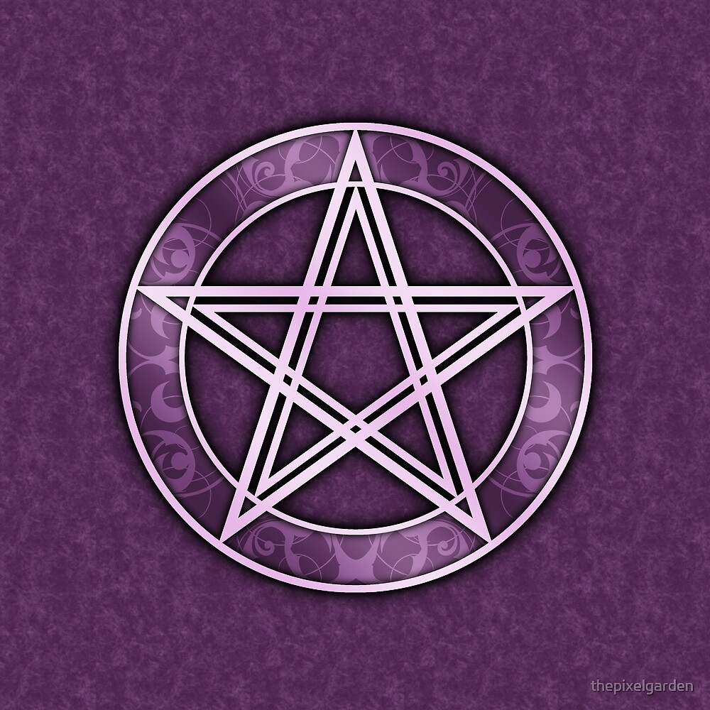 Fancy Purple Pentacle Print by thepixelgarden