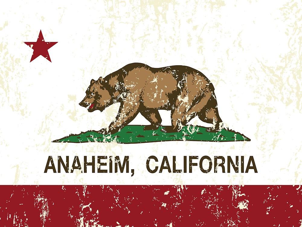 Anaheim California Republic Flag Distressed  by NorCal