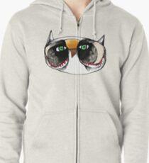 The Owl with Green Eyeballs Zipped Hoodie