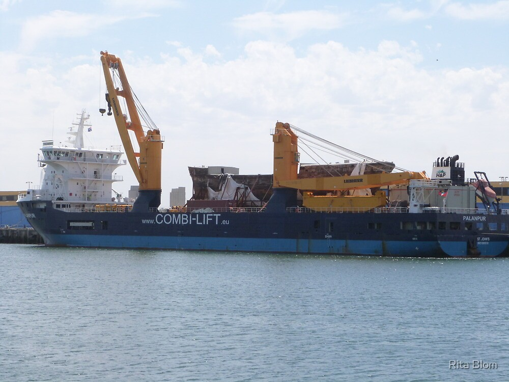 'M.V. Palanpur' cargo ship with 'City of Adelaide' on deck. Pt. Adelaide. S.A. by Rita Blom