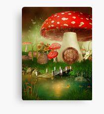 Creative cartoon mushrooms Canvas Print