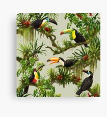 Toucans and bromeliads - canvas background Canvas Print
