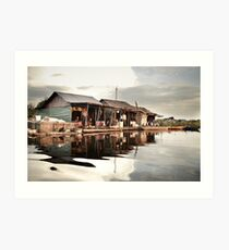 Sunset at Floating Village in Siam Reap Art Print
