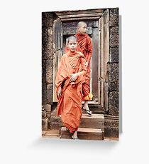 Young Monks in Doorway Greeting Card
