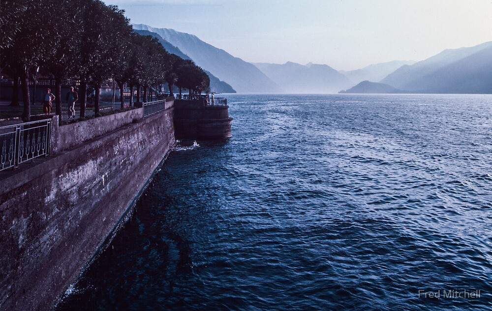 Looking south along the shoreline of Lake Como Bellagio Italy 19840424 0067  by Fred Mitchell